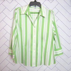 Foxcroft Green and White Stripe No Iron Shirt Plus